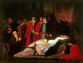 The reconciliation of the Capulets and Montagues over Juliet's body