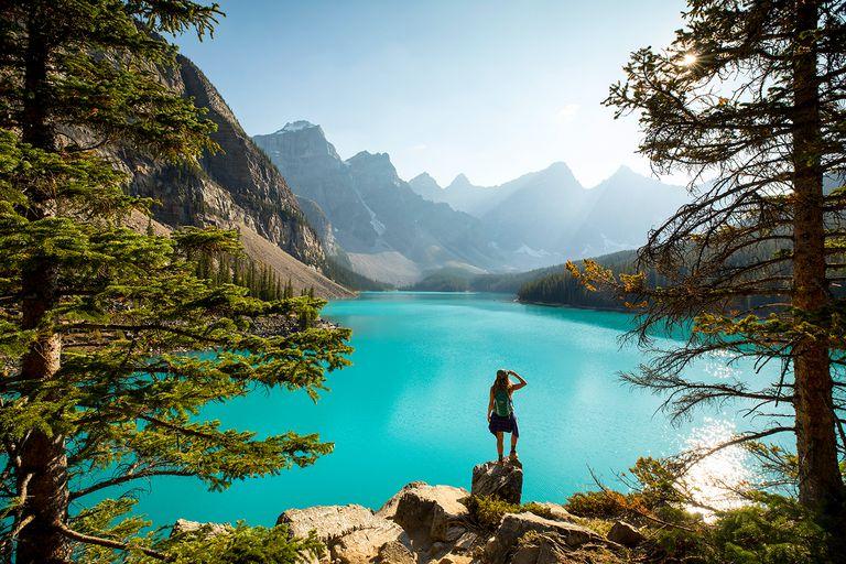 Hiking at a scenic mountain lake