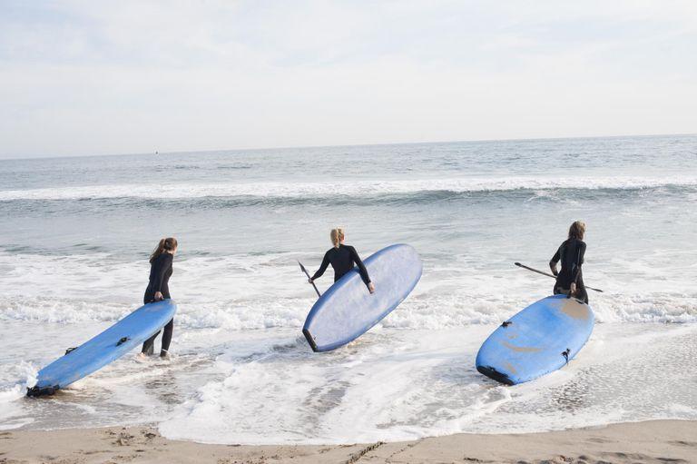 3 women going surfing