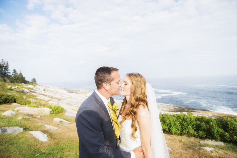 USA, Maine, Bristol, Portrait of married couple kissing