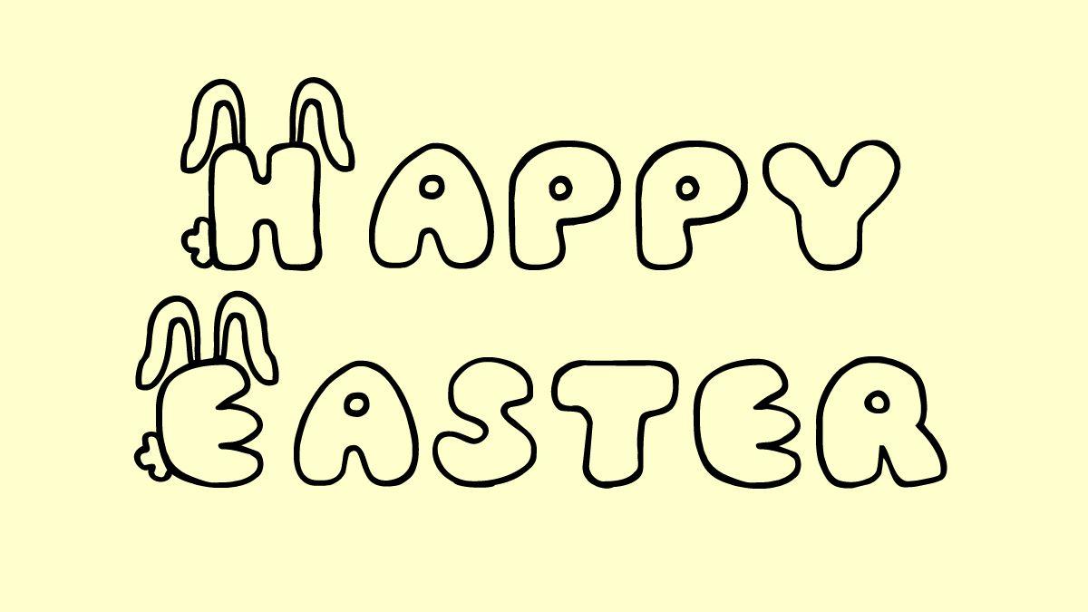 Happy Easter writtin in in JI Bunny Caps font