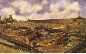 Native American soldiers on the ground during battle