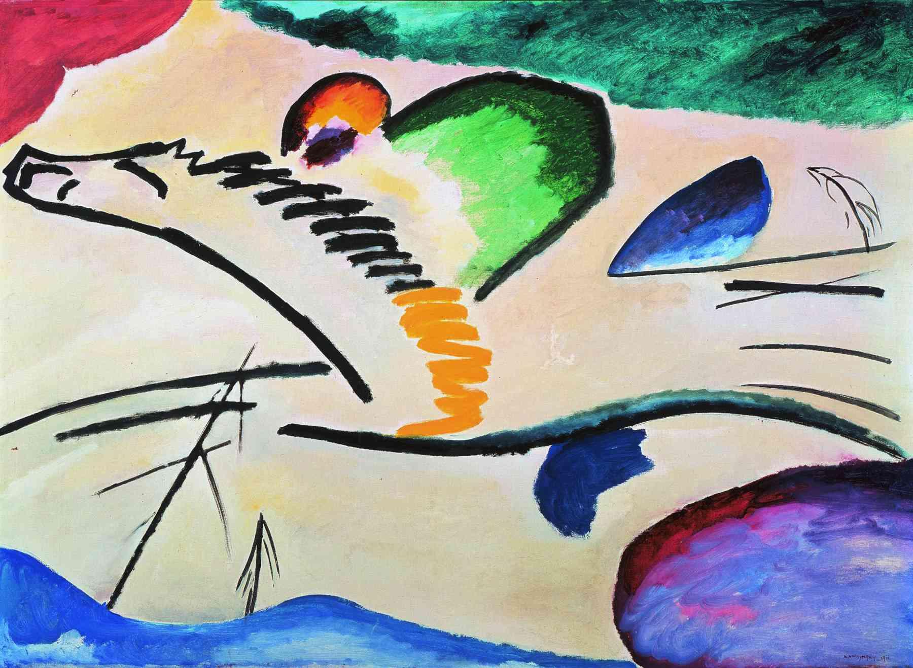 Wassily Kandinsky (Russian, 1866-1944) Wassily Kandinsky (Russian, 1866-1944). Lyrically (Lyrisches), 1911. Oil on canvas. 37 x 39 5/16 in. (94 x 100 cm). Boijmans Van Beuningen Museum, Rotterdam.