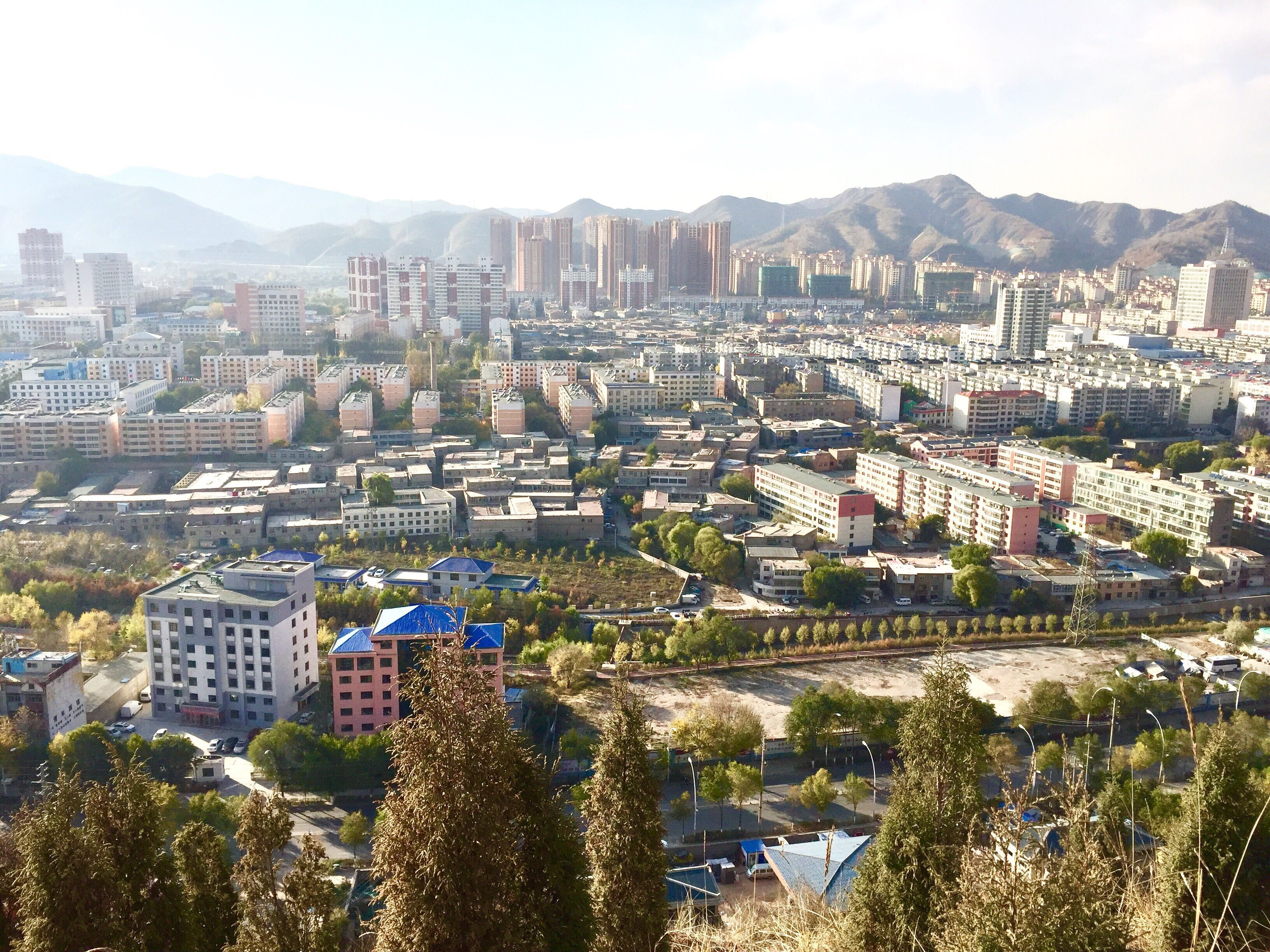 The cityscape of Xining against a mountainous backdrop