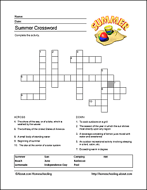 summer wordsearch crossword puzzle and more