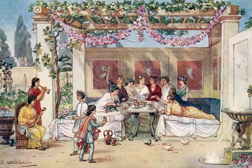 Ancient Romans having dinner in the garden, illustration by J. Williamson.