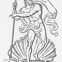 Ein Bild des Gottes Neptun oder Poseidon aus Keightleys Mythologie, 1852.