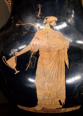 Dionysus holding a kantharos. Red-figure amphora, by the Berlin Painter, c. 490-480 B.C.