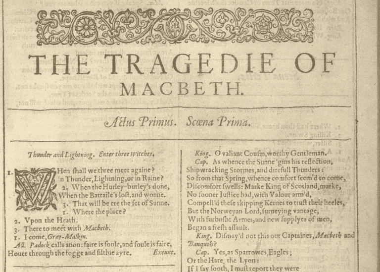 First Folio of Shakespeare's Macbeth