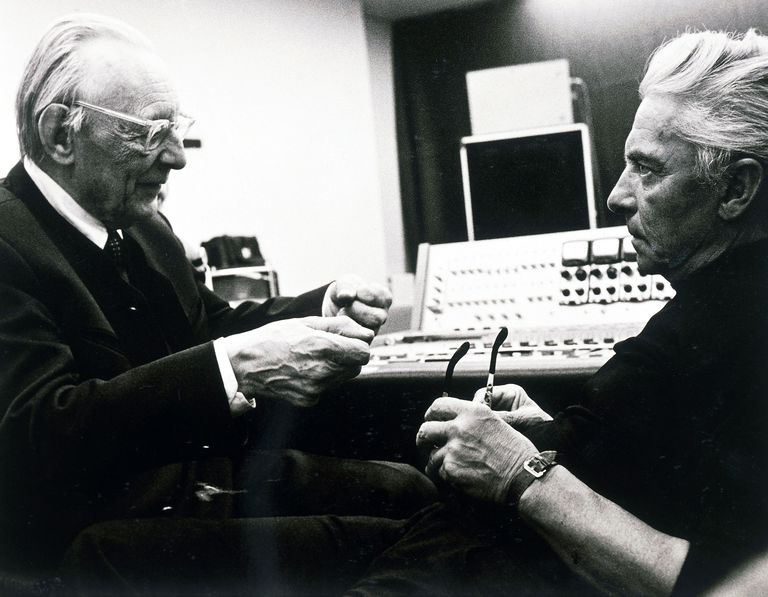 Carl Orff and Herbert von Karajan in recording studio
