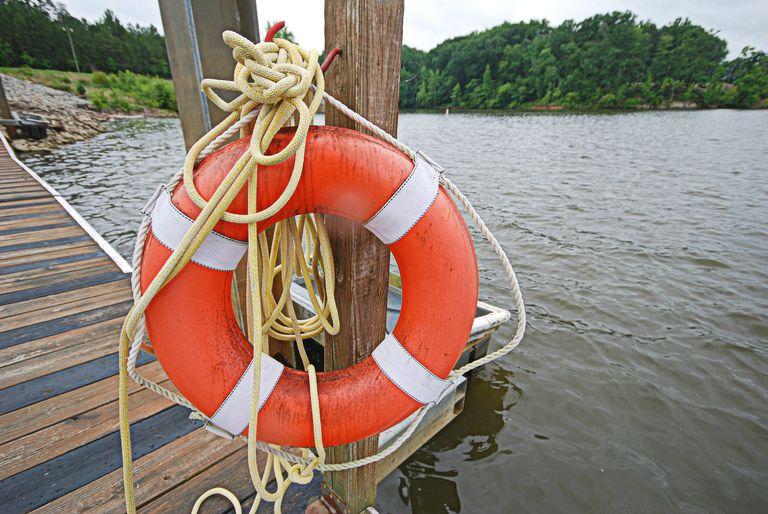 Life ring on a safety dock