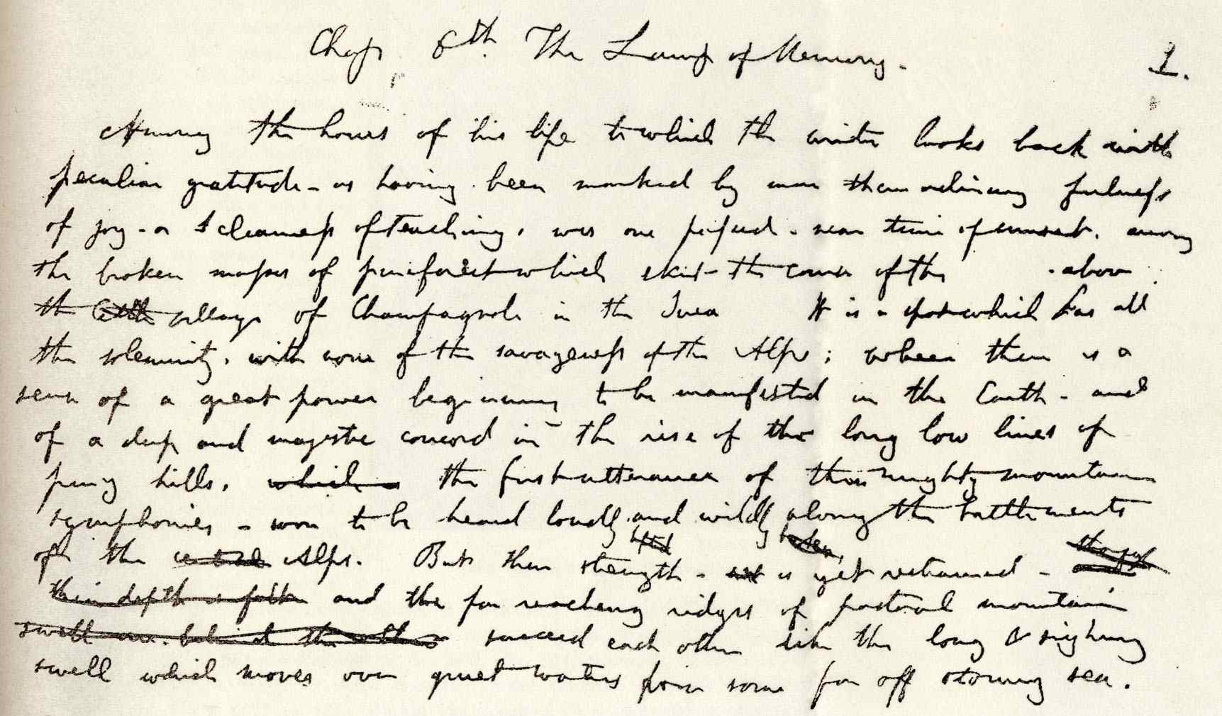 Hand written opening chapter of John Ruskin's The Lamp of Memory