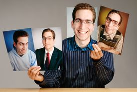 Man Holding Different Photographs of Himself