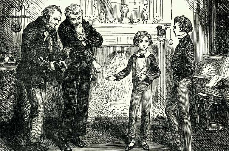Vintage engraving of a scene from the Charles Dickens novel David Copperfield.