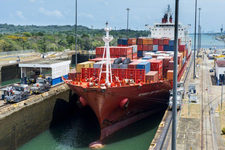 Ship crossing through Panama Canal