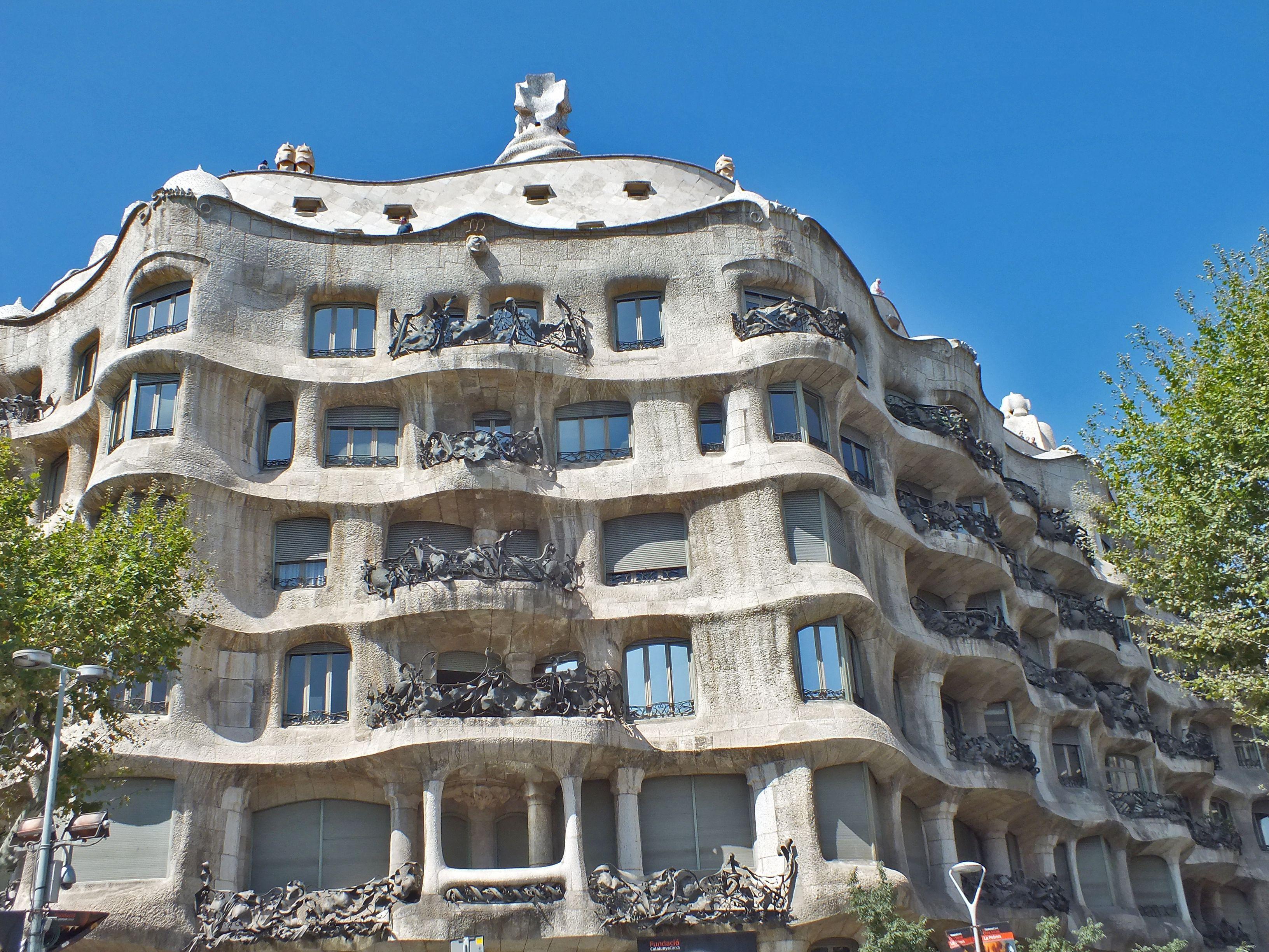 Curvy apartment building in Barcelona, Spain, the Casa Mila, by Antoni Gaudi