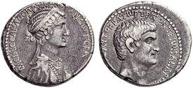Silver Tetradrachm of Marc Antony and Cleopatra VII