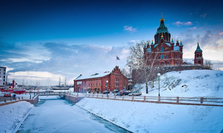 Snow-covered castle in Helsinki, Finland.
