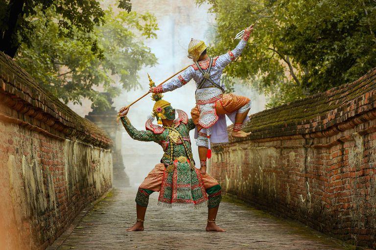 Khon,Art culture Thailand Dancing in masked khon Tos-Sa-Kan and hanuman in literature Ramayana,thailand