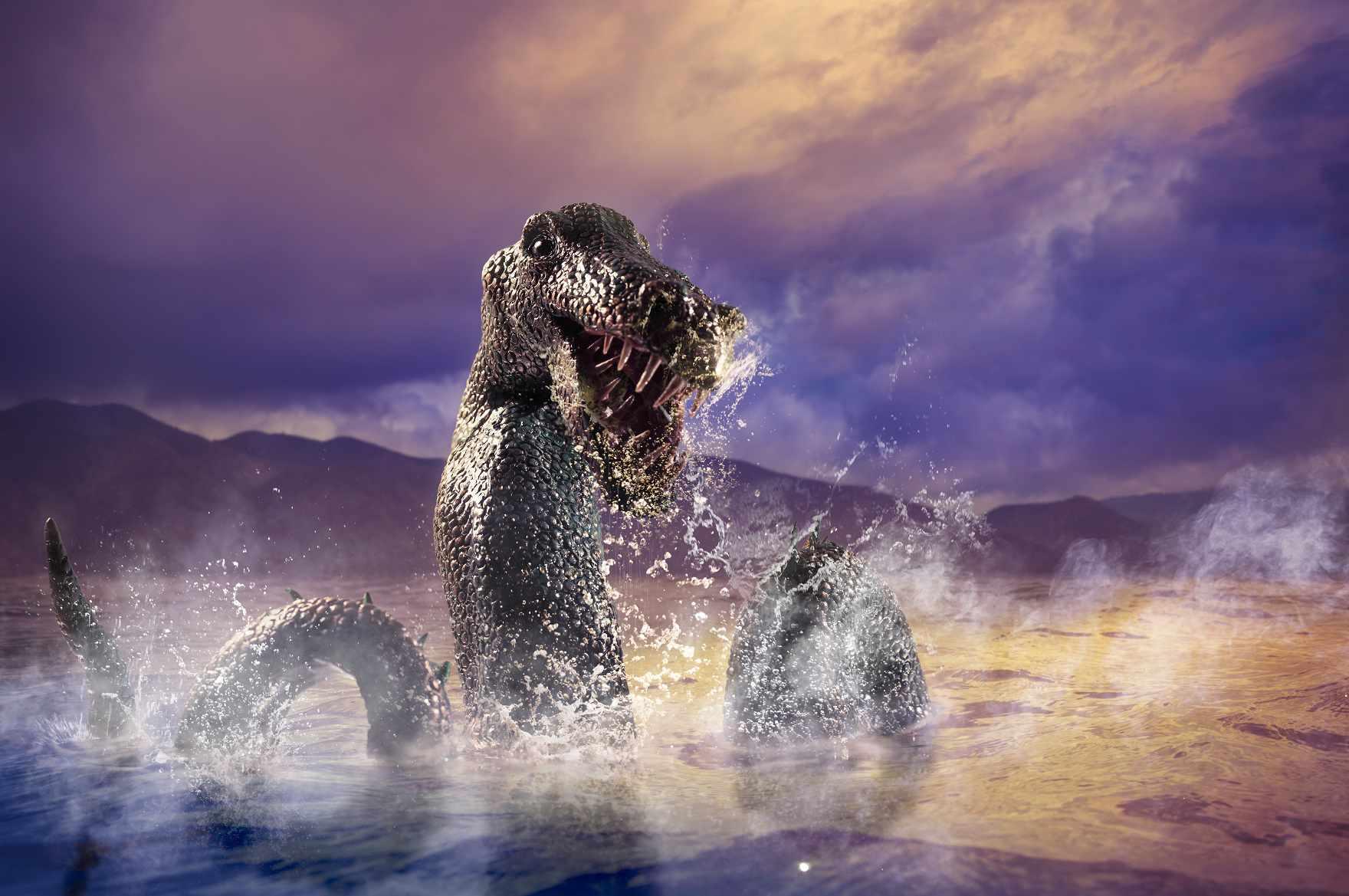 Stylized artist rendering of the Loch Ness Monster looking fierce.