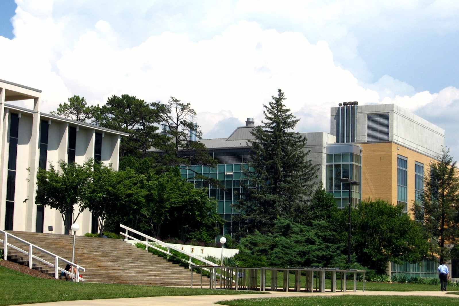 The library and Zeis Hall on campus at UNCA