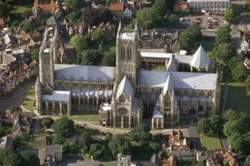 Aerial view of Lincoln Cathedral