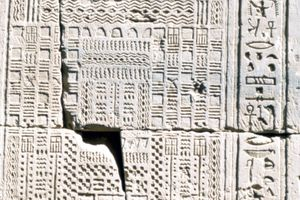 Ancient Egyptian calendar carved into the stone walls of the Temple of Kom Ombo, dating to about 2nd to 1st century BC