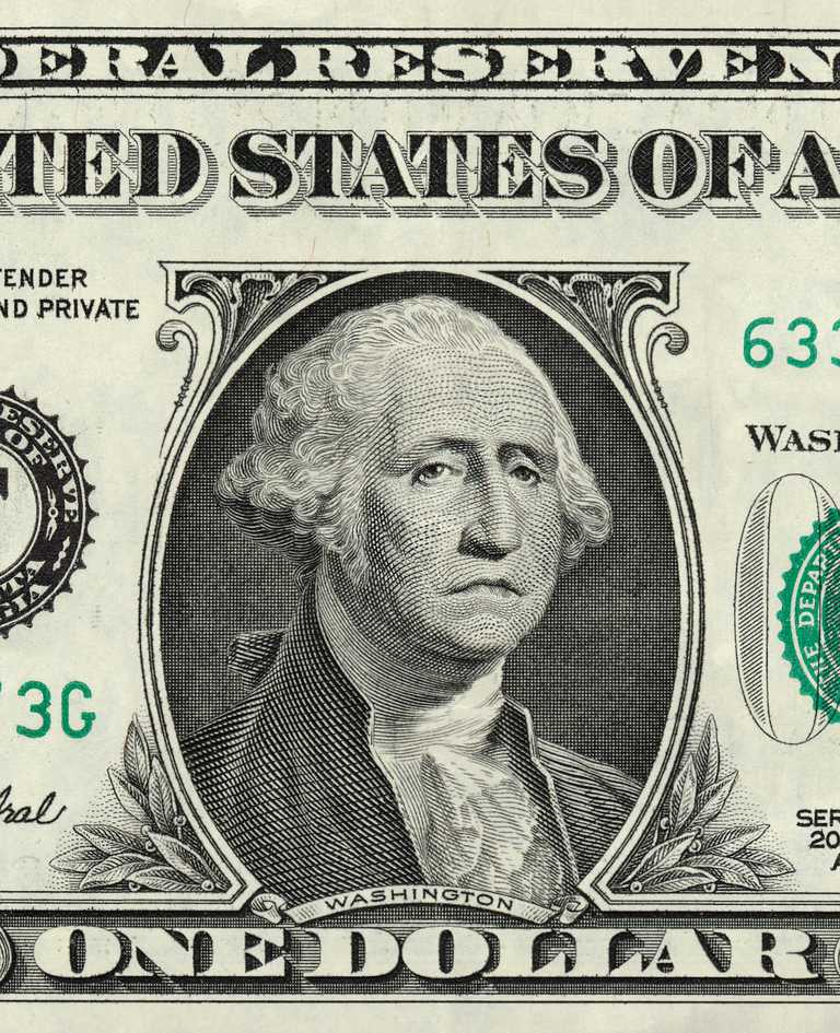 Imagen de George Washington en billete de $1