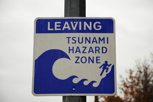 Tsunami hazard zone warning sign, close-up