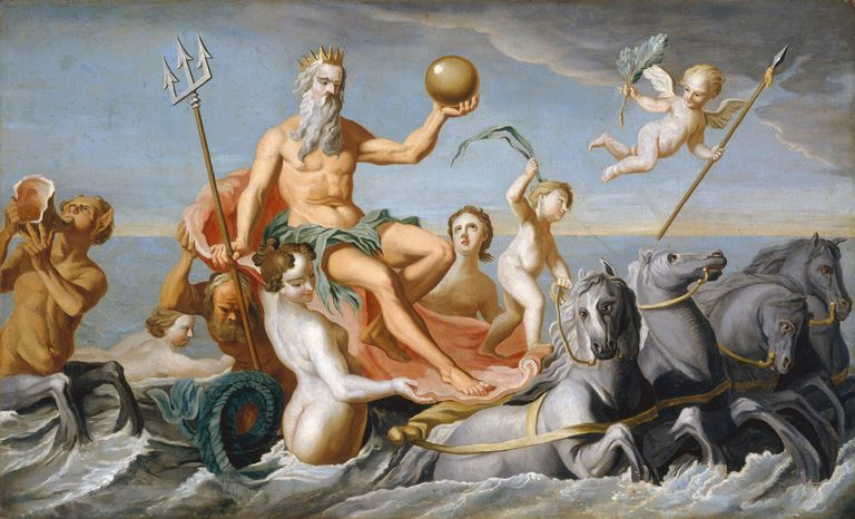 Painting of Poseidon in his chariot at Sea
