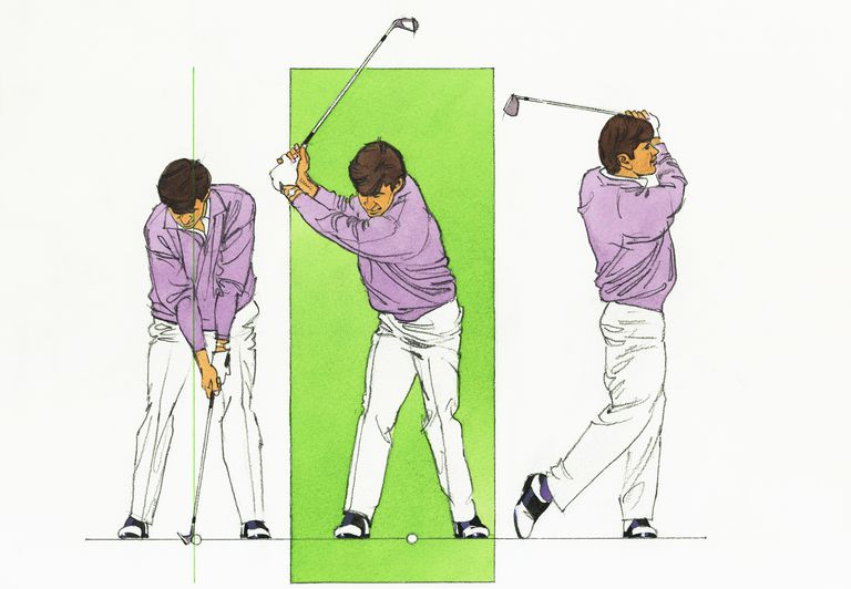 Three-panel illustration of golf swing