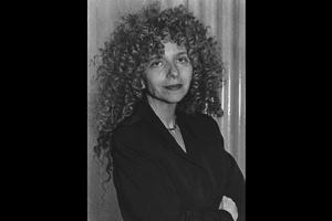 Barbara Kruger black and white portrait