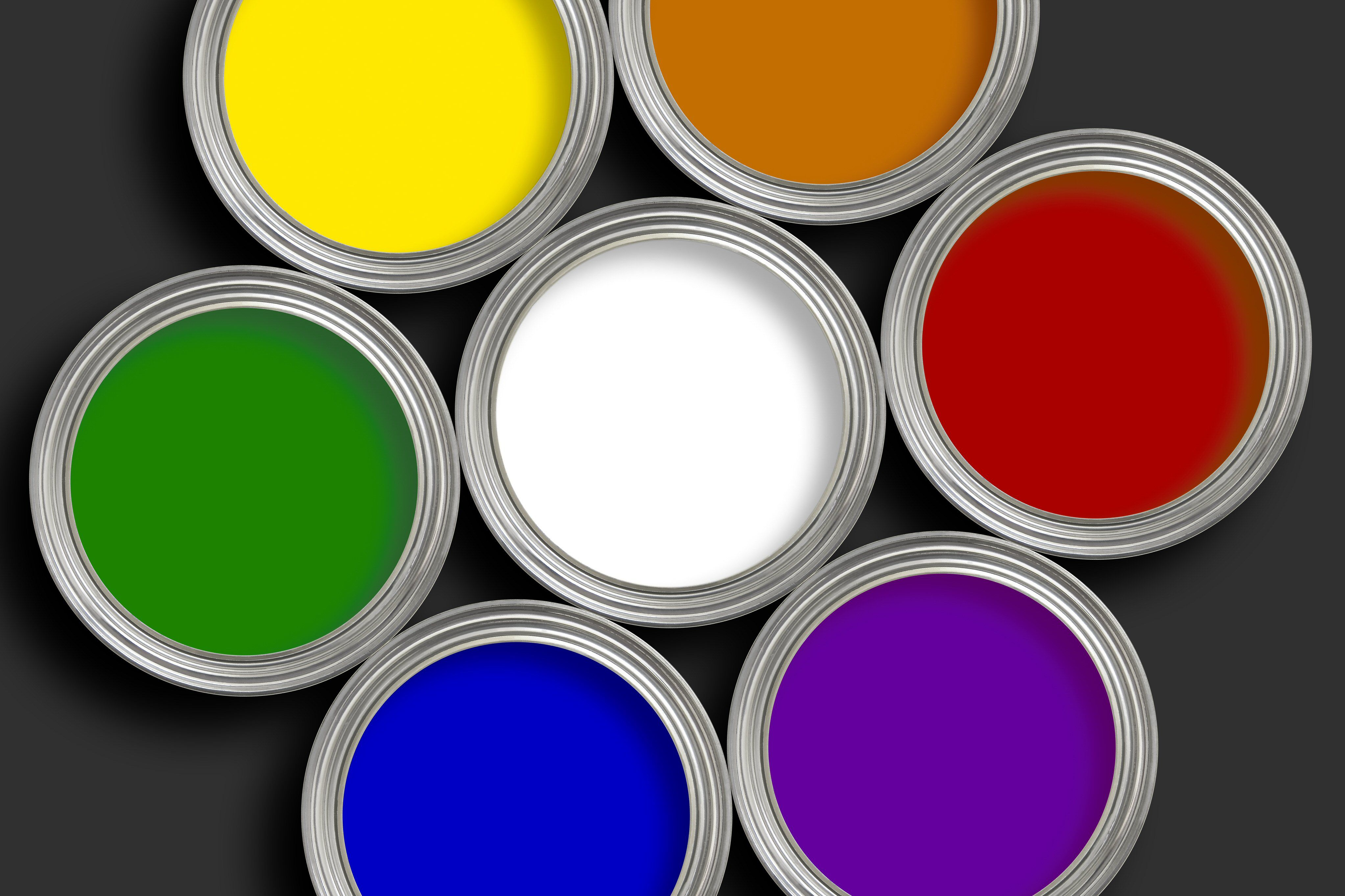 Viewing 7 Open Paint Cans From The Top In A Circle White