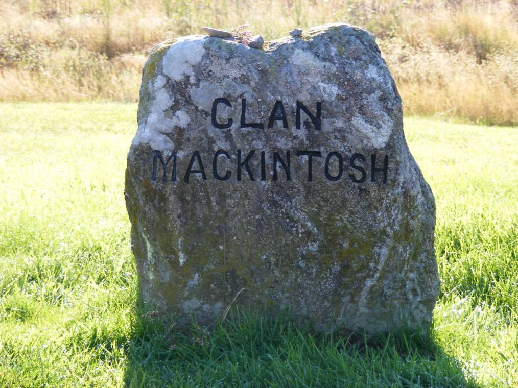 One of the two stones that mark the graves of those members of Clan MacKintosh who were killed in the battle.
