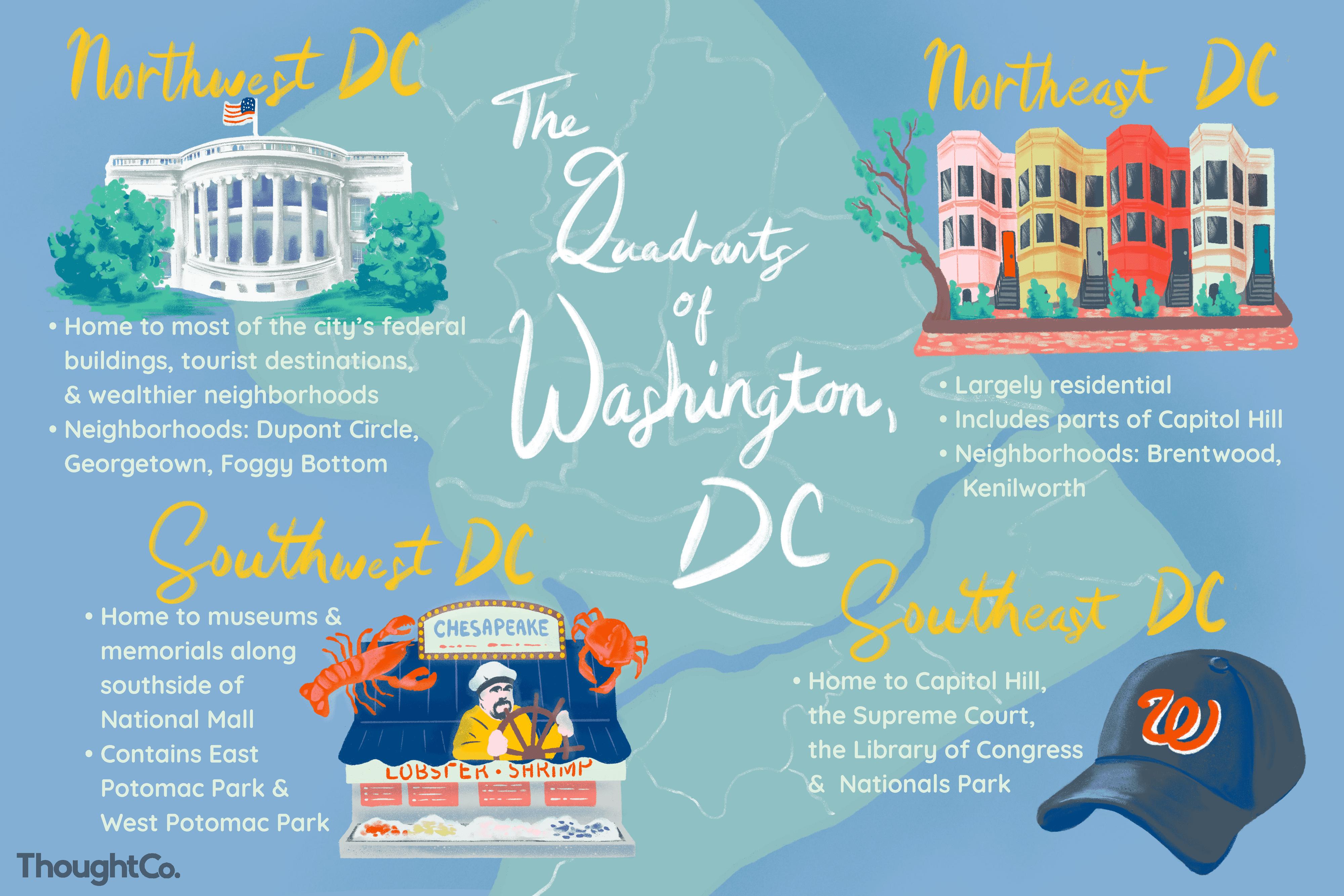 Illustrated map of the Quadrants of Washington DC