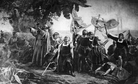 Christopher Columbus landing in America with the Piuzon Brothers bearing flags and crosses, 1492. Original Artwork: By D Puebla (1832 - 1904)