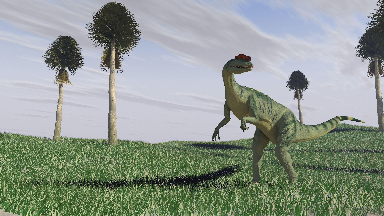 graphic rendering of dilophosaurus in field