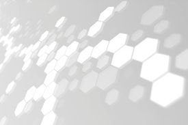 Hexagons connected into molecular like structures on a gray background