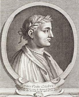 Illustrated Portrait of Greek Poet Horace.