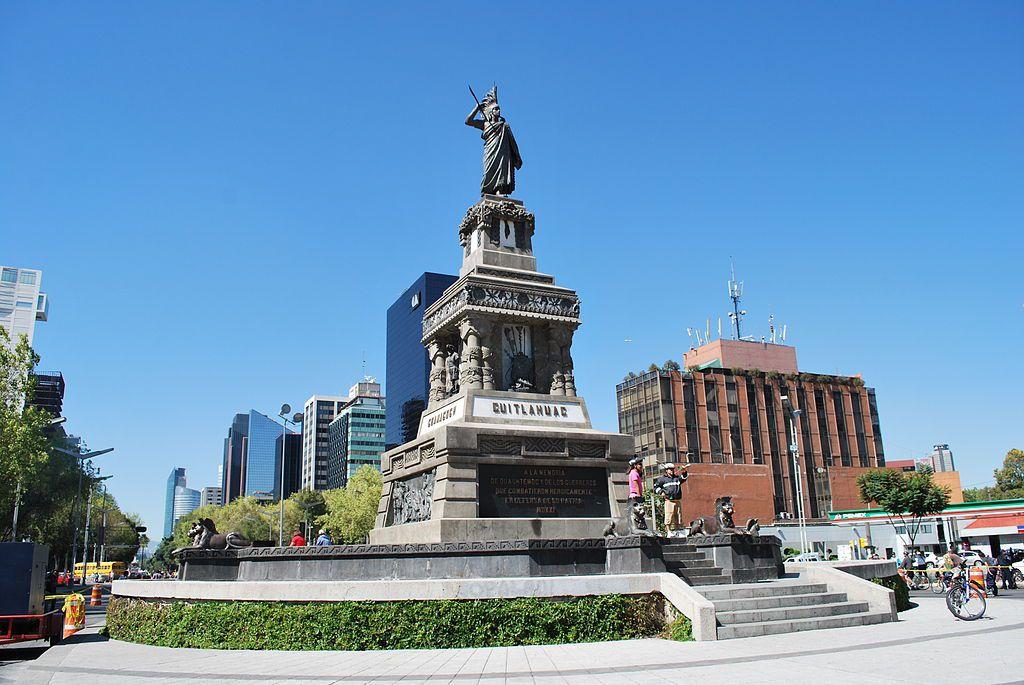 Monument to Aztec leader Cuauhtémoc on Paseo de la Reforma, Mexico City