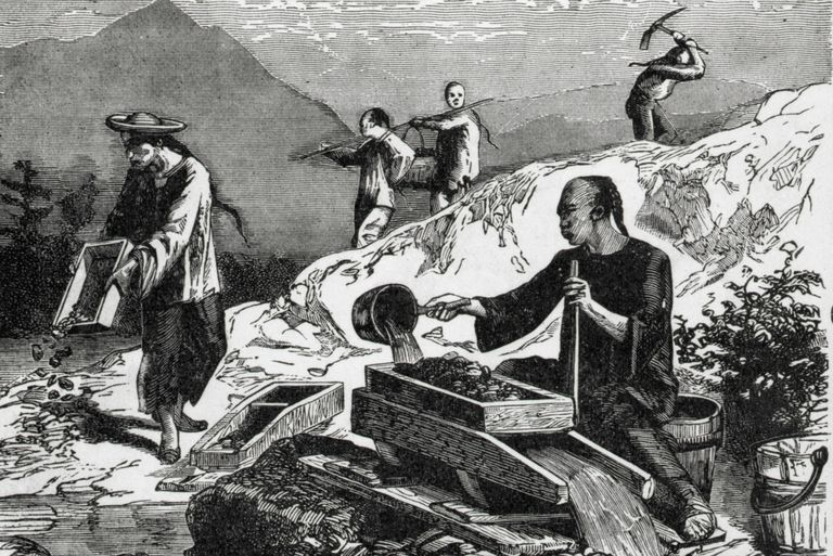 Illustration of Chinese miners in California