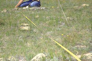 Measuring the Diameter of a Tipi Ring, Shelby, Montana