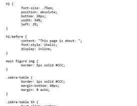 Example of CSS code
