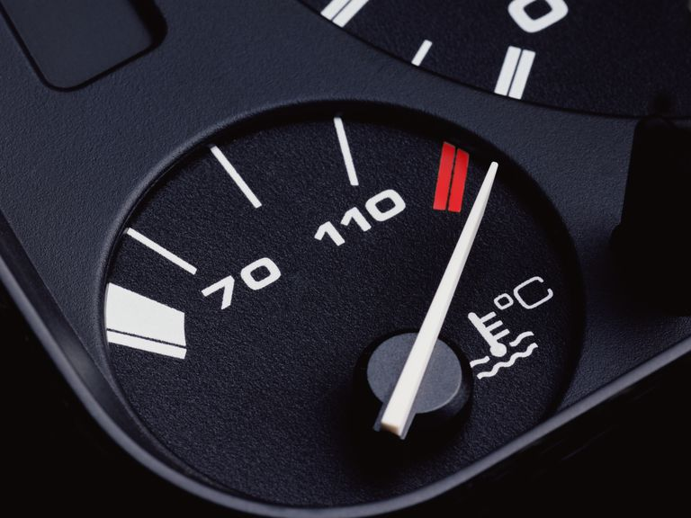 Car Temperature Gauge Showing Overheating Condition