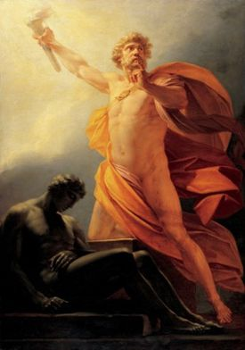 Prometheus Brings Fire to Mankind, by Heinrich Friedrich Fuger, c. 1817