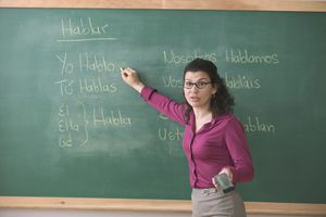 Spanish teacher at blackboard