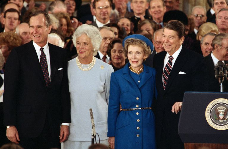 George HW Bush, Barbara Bush, Nancy Reagan, and Ronald Reagan