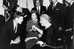 Helen Keller visits President John F. Kennedy, April 8, 1961