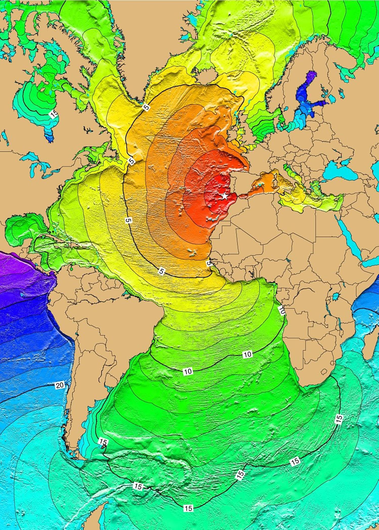 Tsunami travel time for 1755 Portugal earthquake.