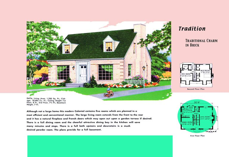 cape cod house plans 1950s america style